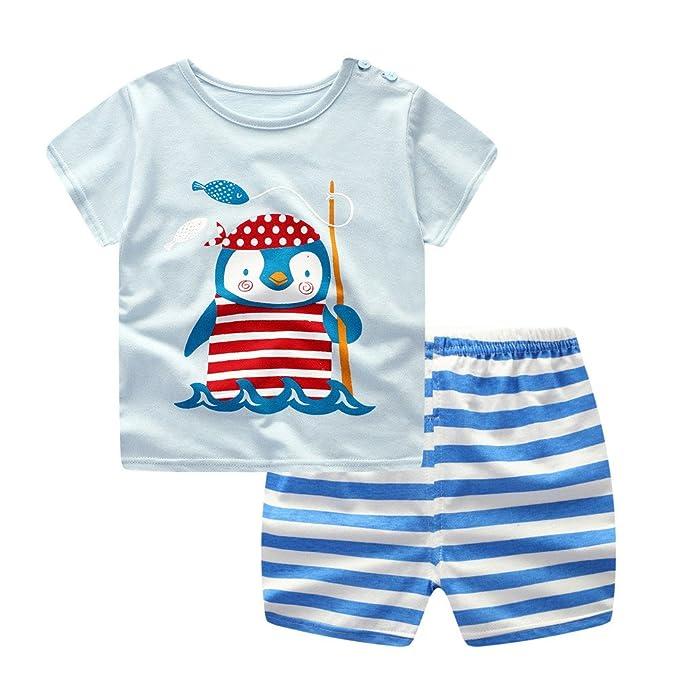Daoope Completo Bimbo Estate Abbigliamento Bambino da Cerimonia 1 2 3 Anni Top Corto A Maniche Corte Cartoon Pinguino + Pantaloncini Set Due Pezzi Set