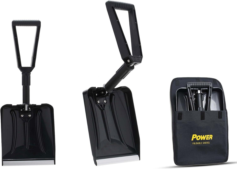 Power Pala Plegable per Nieve - Forma Completamente Plegable 65 cm Longitud Total 32 cm Longitud Compacta Coches, Camiones y Remolques, Estuche Incluido (Color Negro)