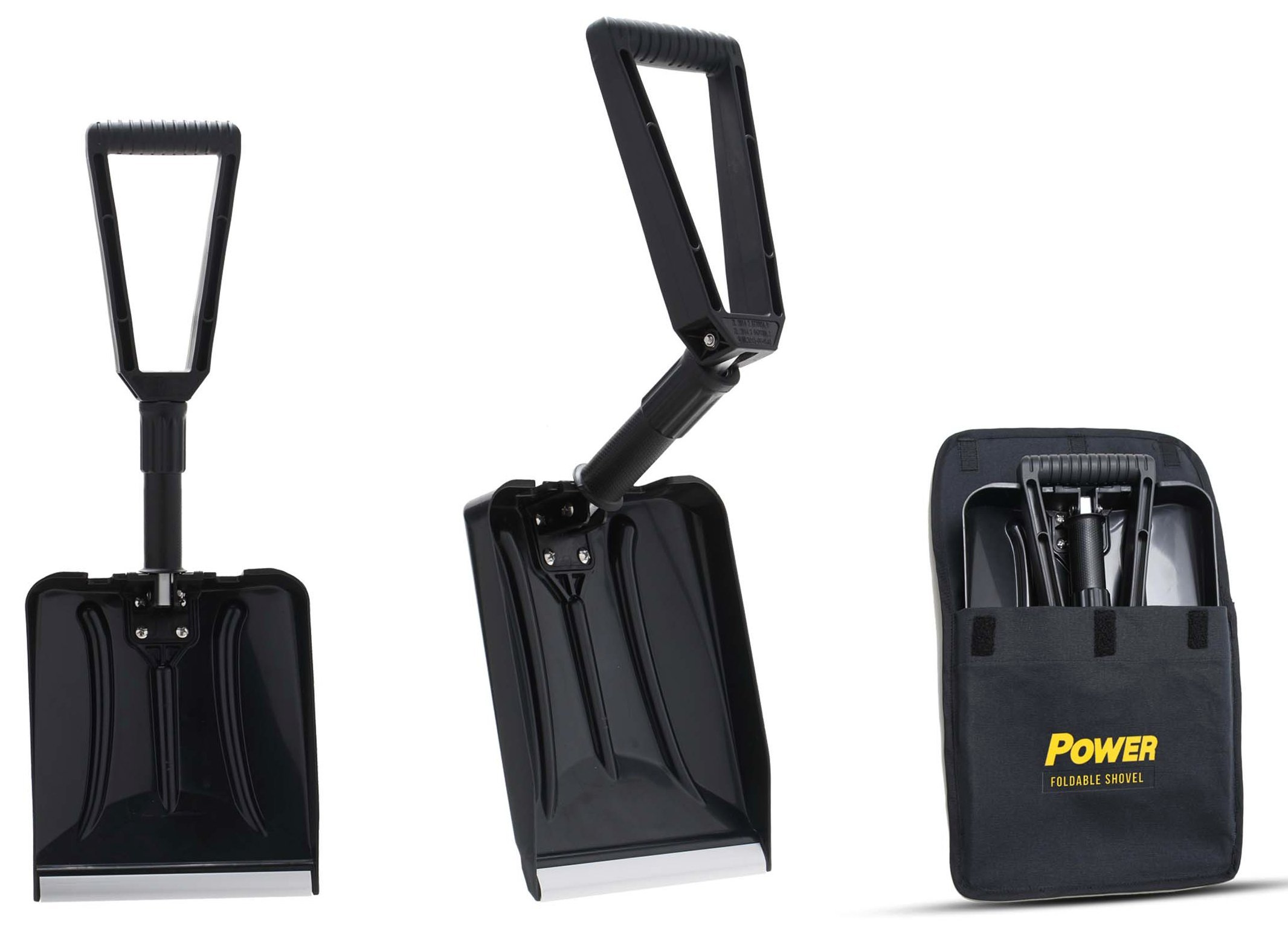Power Foldable Shovel – Completely Collapsible Form 26'' Overall Length 12.5'' Compact Length (Black Color)