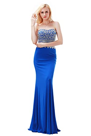 Finove Womens Navy Blue Mermaid Evening Dresses Two-Piece Set Beading Dress (2,