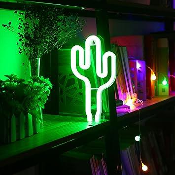 Niceeshop Tm Lampe Neon Led En Forme De Cactus Alimente Par