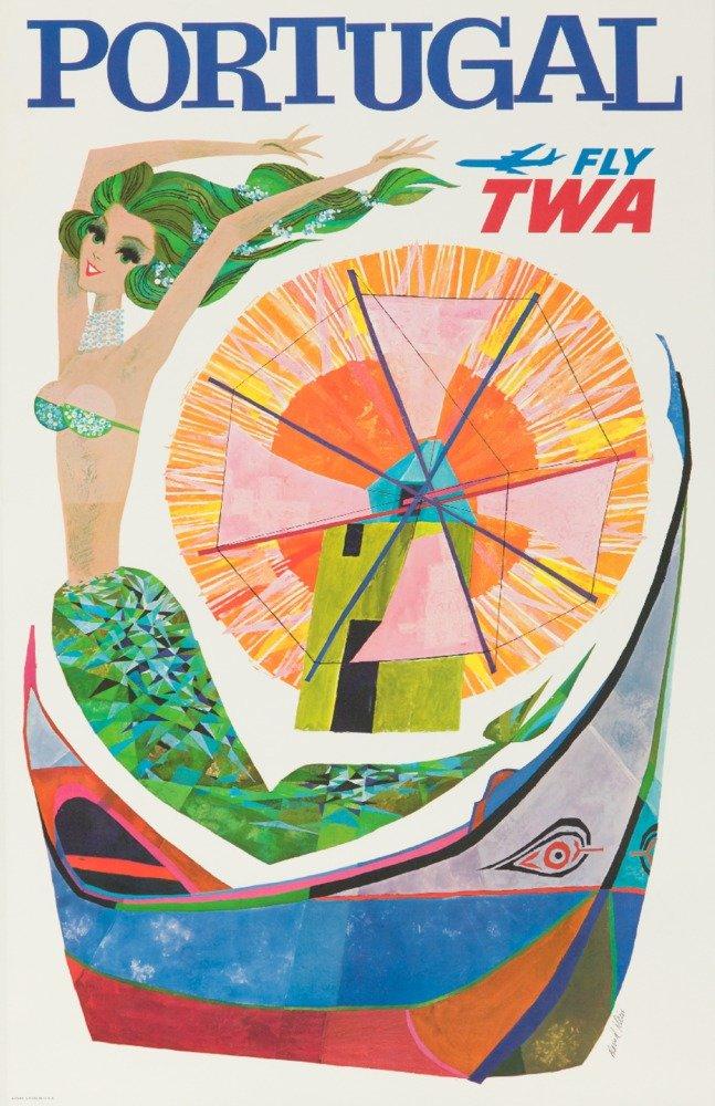 ポルトガルフライTWA – ヴィンテージポスター(アーティスト: Klein ) USA C。1966 24 x 36 Giclee Print LANT-62452-24x36 B017ZKBFW4  24 x 36 Giclee Print