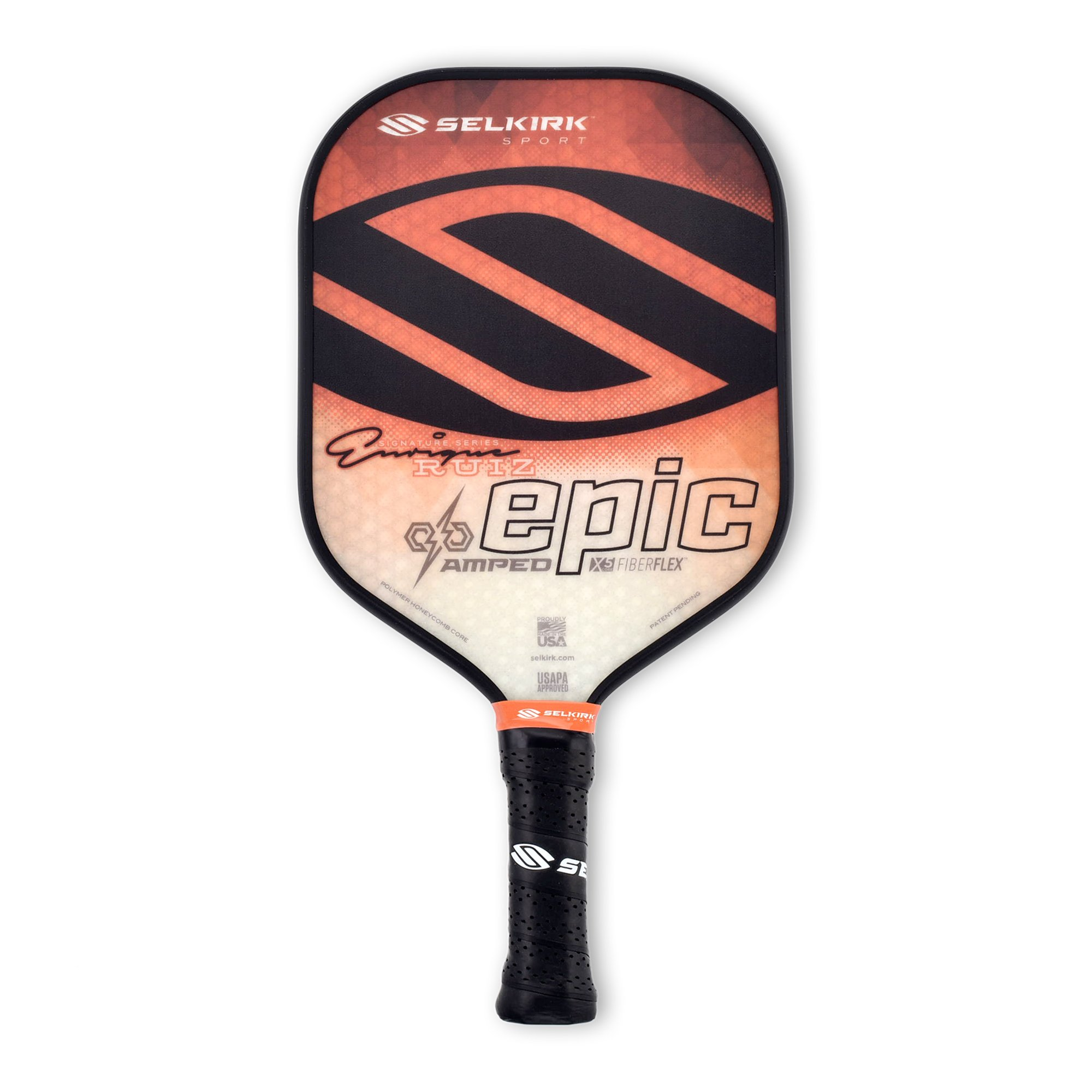 Selkirk Amped Pickleball Paddle - USAPA Approved - X5 Polypropylene Core - FiberFlex Fiberglass Face - 5 Sizes: Epic, S2, Omni, Maxima, and INVIKTA (Epic Midweight - Enrique Sig. Orange)