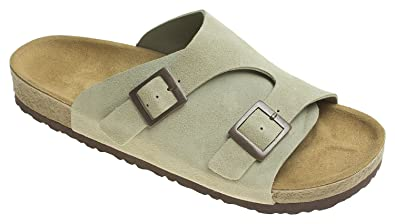f35d32bb0aa AnnaKastle Womens Two Buckle Wide Strap Silde Sandal Suede Casual Shoes  Beige
