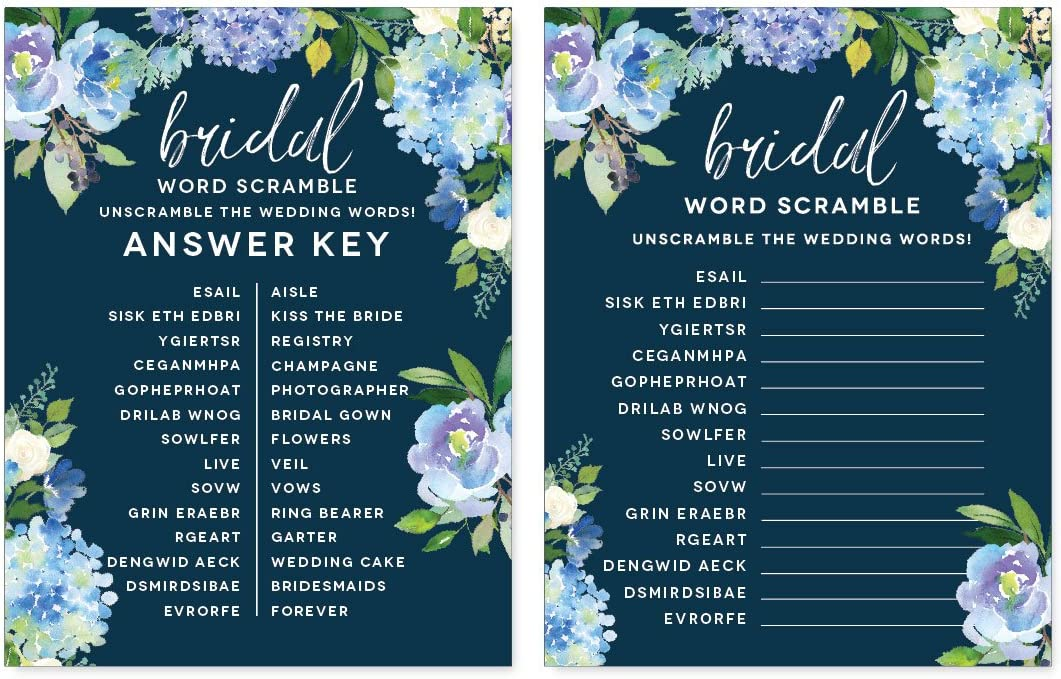 Andaz Press Navy Blue Hydrangea Floral Garden Party Wedding Collection, Wedding Word Scramble Bridal Shower Game Cards, 20-Pack