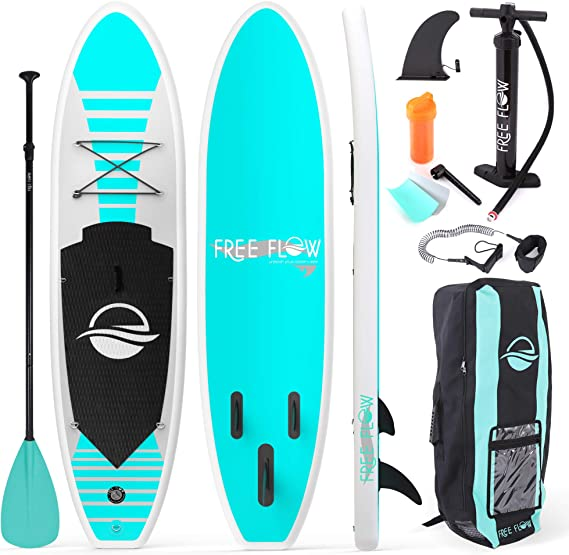 SereneLife Inflatable Stand Up Paddle Board (6 Inches Thick) with Premium SUP Accessories & Carry Bag | Wide Stance