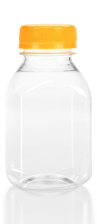 (12) 8 oz. Clear Food Grade Plastic Juice Bottles with Cap (12/Pack) (Orange)