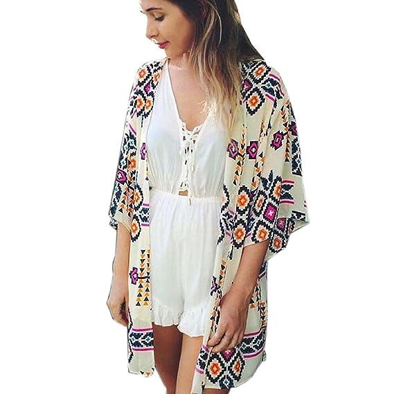 Ropa De Playa Para Mujer Gasa Kimono Verano Playa Moda Casual Vintage Hippie Bohemio Estampado Pareos Playa Bikini Cover Up: Amazon.es: Ropa y accesorios