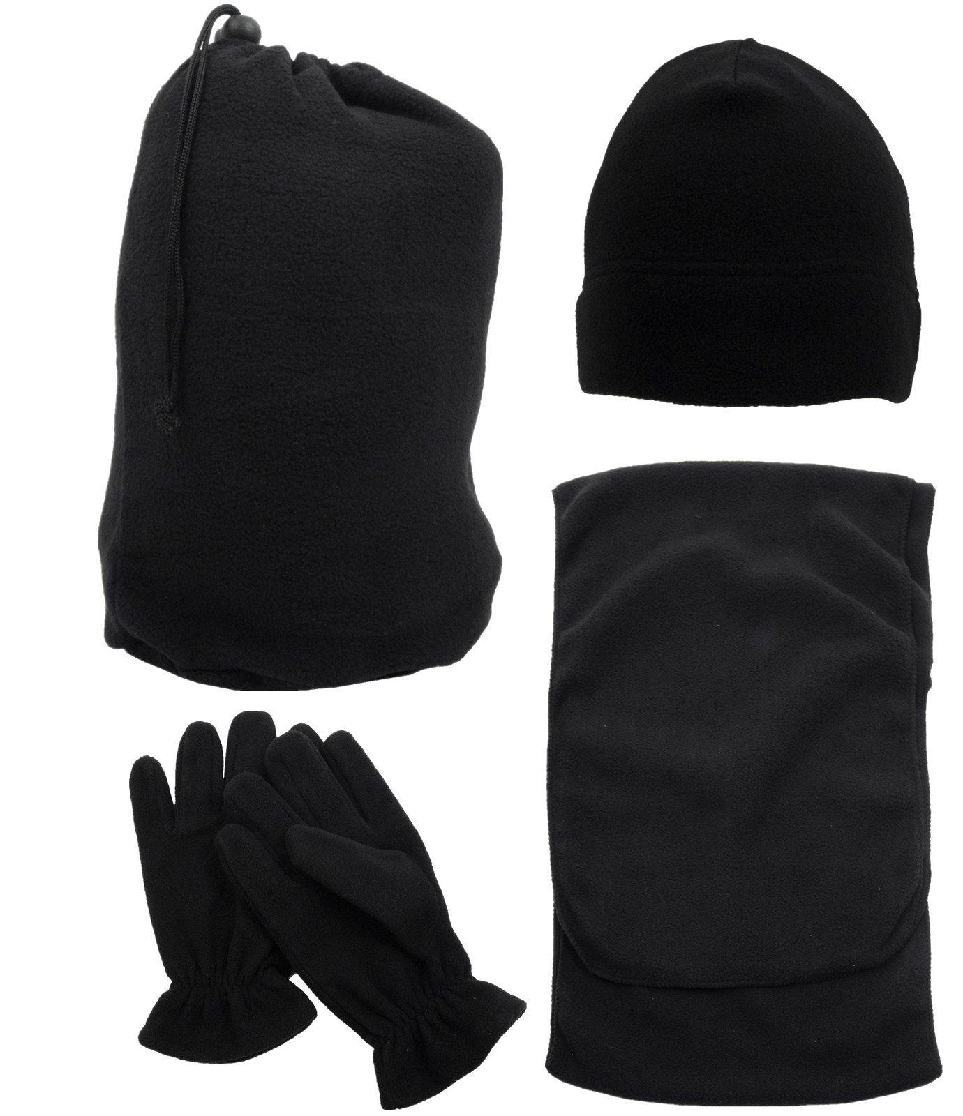 3 in 1 Men & Women's Soft Warm Knitted Hat Scarf & Gloves Winter Set , Black