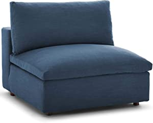 Modway Commix Down-Filled Overstuffed Upholstered Sectional Sofa Armless Chair in Azure