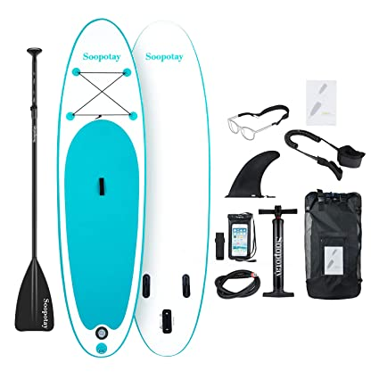 Soopotay Inflatable Stand Up Paddle Board, Inflatable Sup Board, I Sup Board With Accessories, Fins, Backpack, Carry Strap, Coil Leash, Hand Pump | Youth & Adult Paddle Board by Soopotay