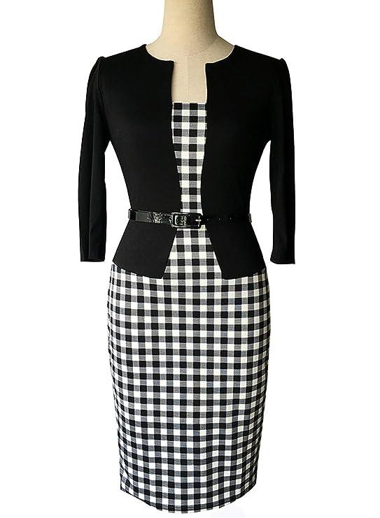 Sparkling YXB Damen Kleid 3/4-Arm Hahnentritt Muster mit Belt Business  Abendkleider Schwarz: Amazon.de: Bekleidung