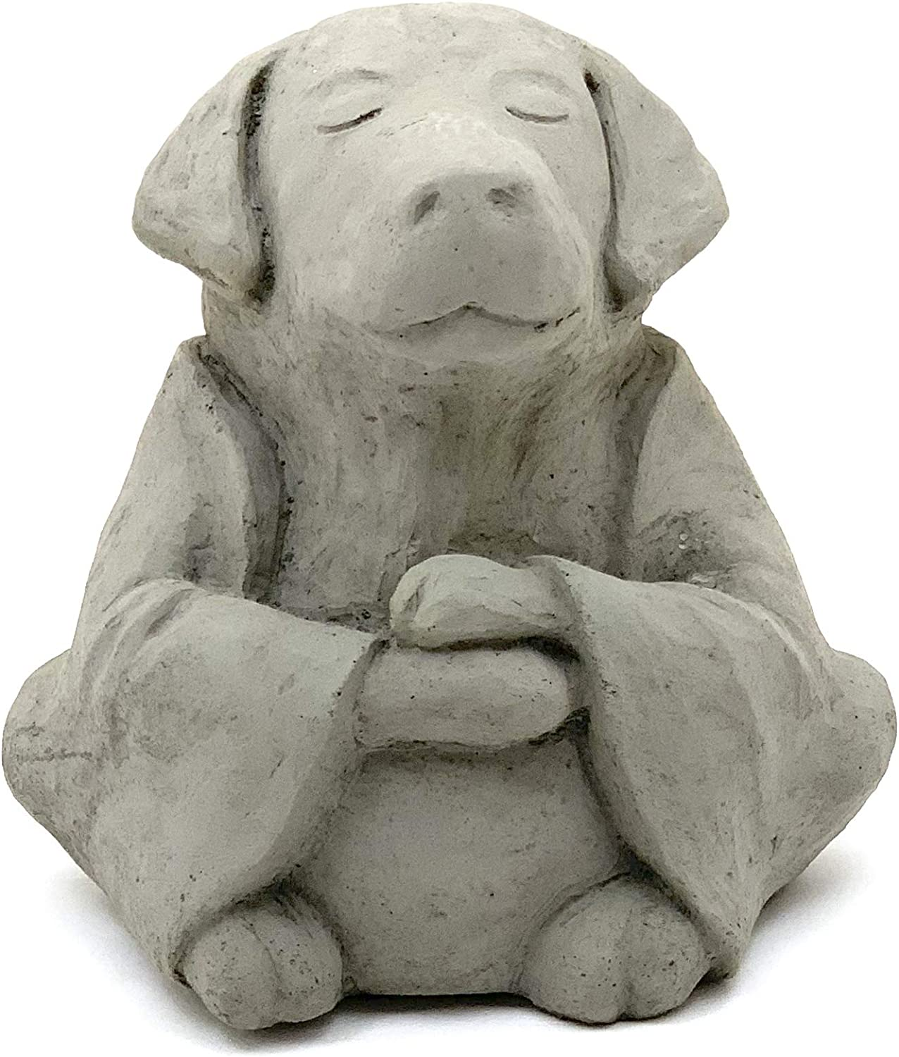Meditating Buddha Dog: Solid Durable Stone. Perfect for Home, Garden or Gift. Sealed for Outdoor Use. Handcrafted in USA (Antique Gray)
