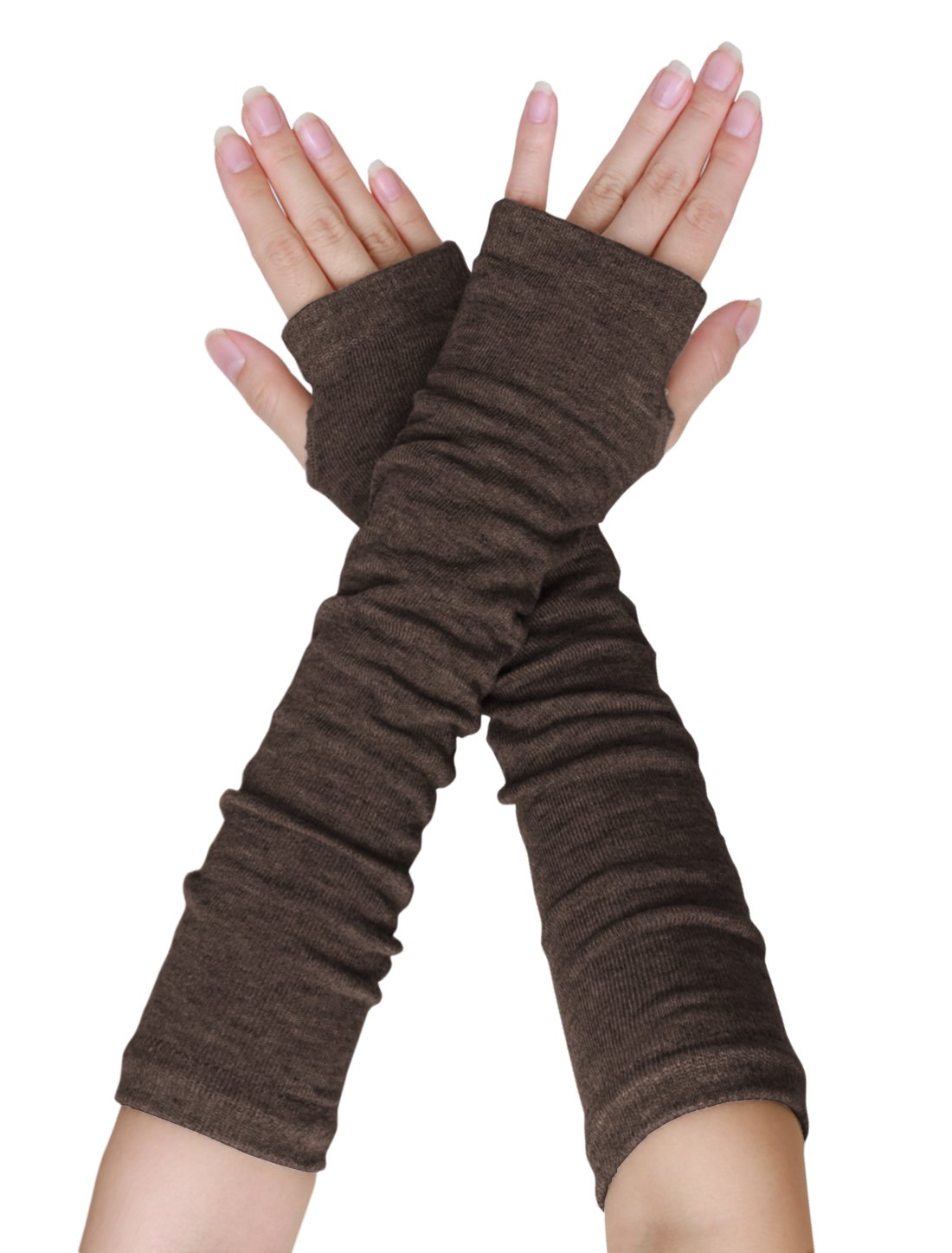SourcingMap Women Elbow Length Arm Warmer Gloves Thumbhole Fingerless 1 Pairs Brown a15110400ux0408