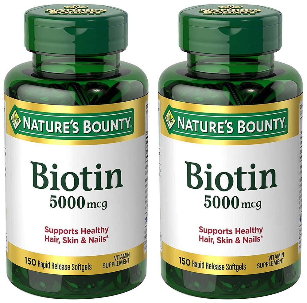 Biotin 5000 mcg, 150 Rapid Release Softgels (2 Bottles)