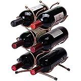 Double2C Wine Rack - 6 Bottles Free Standing Countertop Metal Wine Rack Tabletop Wine Cork Storage Holders Stands Prefect for Home and Kitchen Counter Organizer,Brozen