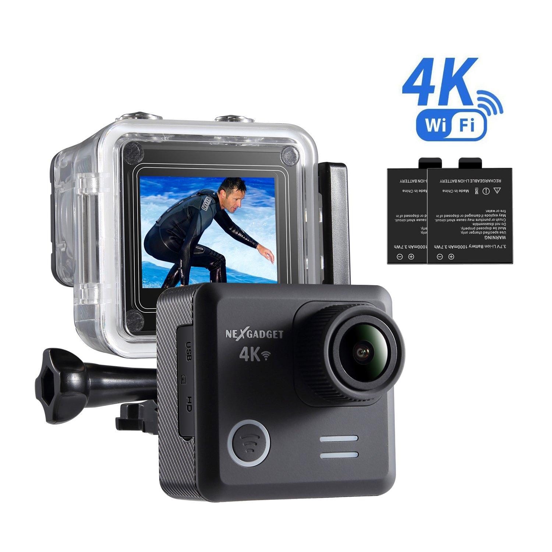 NexGadget Action Kamera 4K WiFi Ultra Full HD 16MP IP68 Wasserdichte Sports Actioncam Helmkamera Sport Kamera Action Camera 30fps mit Zubehör Kit, 170° Weitwinkel 2,0 Zoll LCD 170° Weitwinkel 2 NGDSC-AT30-BLK