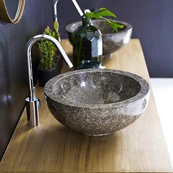 Unbekannt Waschbecken Grau Aufsatzwaschbecken Aus Marmor 35 Cm