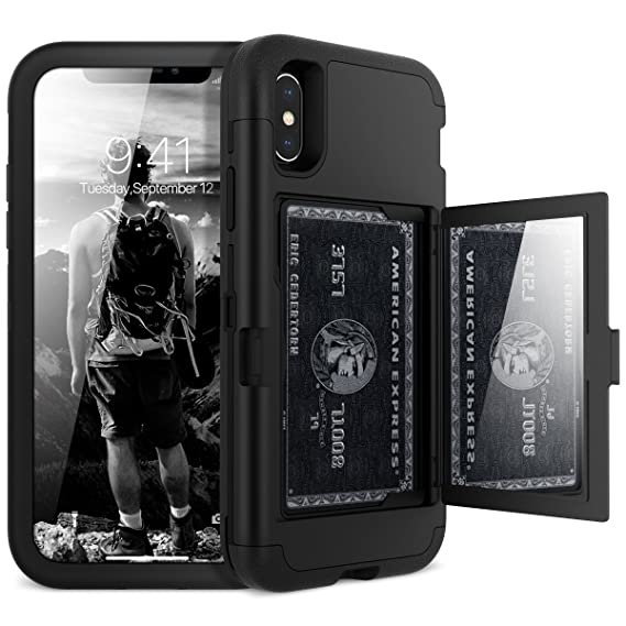 big sale f7fbf 0393d iPhone X/XS Wallet Case - WeLoveCase Defender Wallet Design with Hidden  Back Mirror and Card Holder 3 in 1 Hybrid Heavy Duty Protection Shockproof  ...
