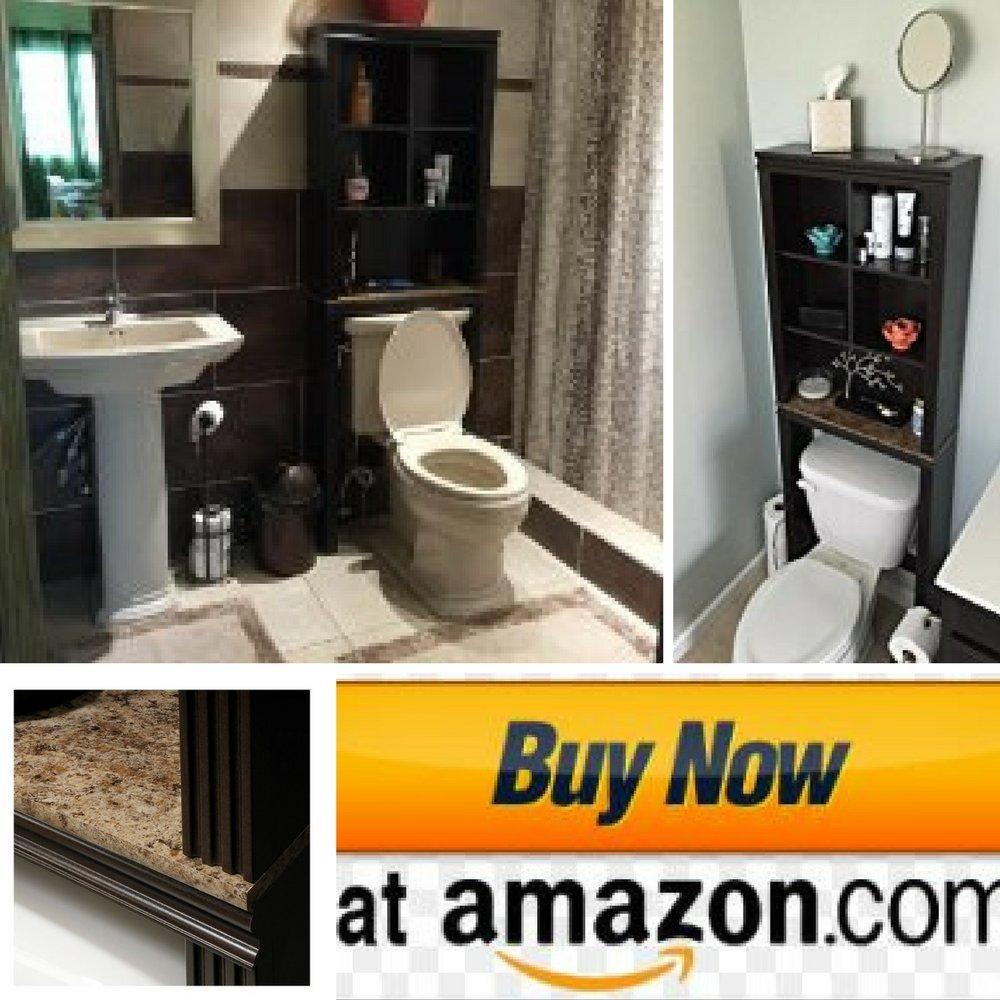 Over The Toilet Storage Shelves, Over The Cabinet Storage Furniture, Dark Cinnamon Cherry with Granite Finish & ebook Home Decor