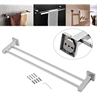 AUTOUTLET Stainless Steel Bathroom Square Double 2 Bar Towel Rail Rack Holder 600MM Hanger