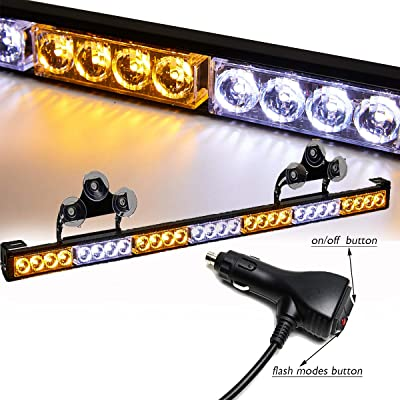 SMALLFATW 32 Inch 28 LED Emergency Warning Light Bar Flash Strobe Light Bar Universal Vehicles Trucks Traffic Advisor Light with Cigar Lighter and Suction Cups (Amber/White): Automotive