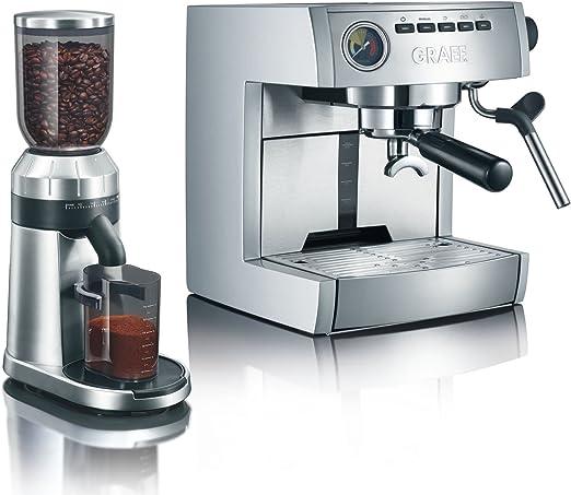 Graef ES 85 + CM 80 Manual Máquina espresso 2.5L 6tazas Acero inoxidable - Cafetera (Máquina espresso, 2,5 L, De café molido, Acero inoxidable): Amazon.es: Hogar