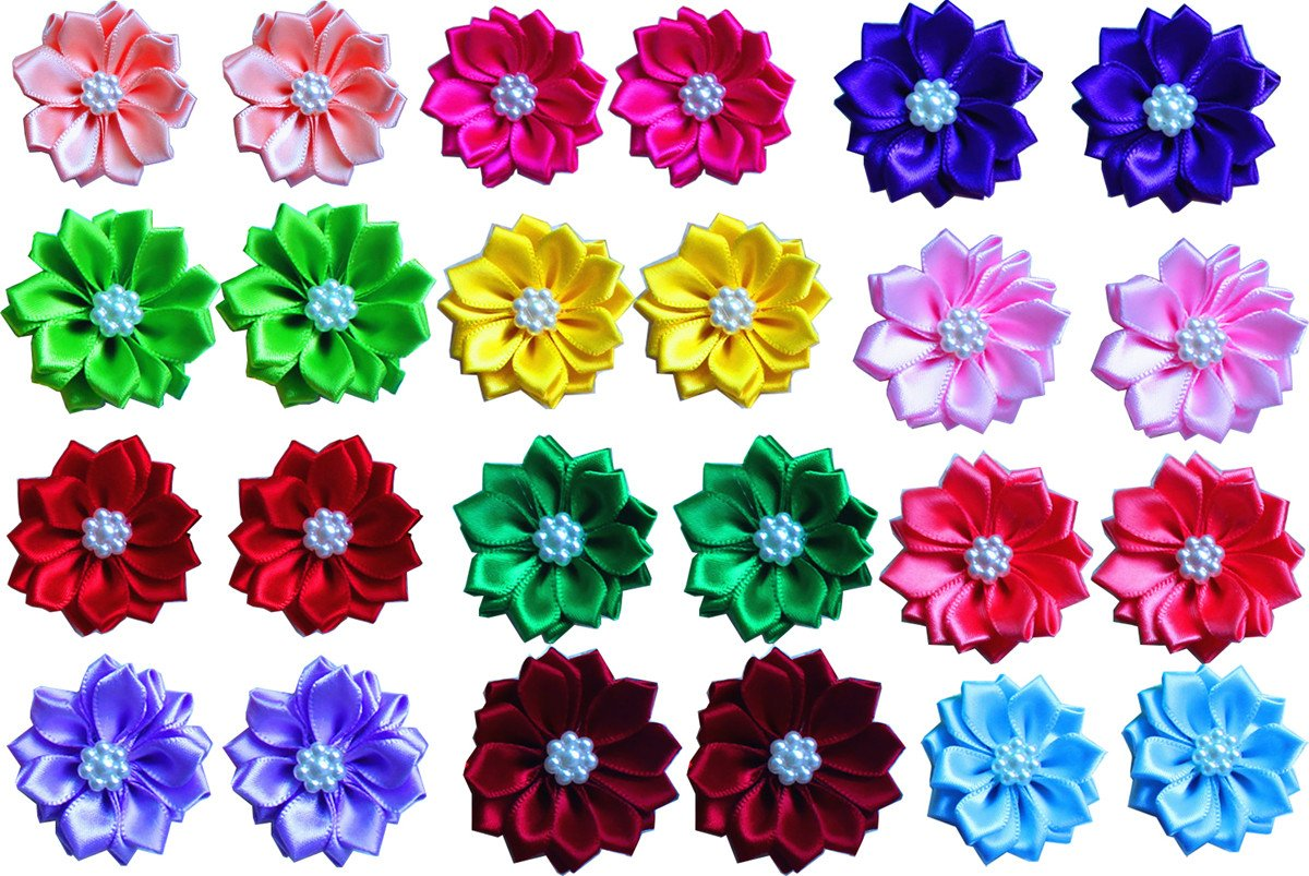 Yagopet 20pcs/10pairs Dog Hair Bows With Rubber Bands Petal Flower Dog Topknot with Flower Pearls Nice Dog Topknot Bows Pet Dog Grooming Bows Pet Supplies Dog Bows Hair Accessories