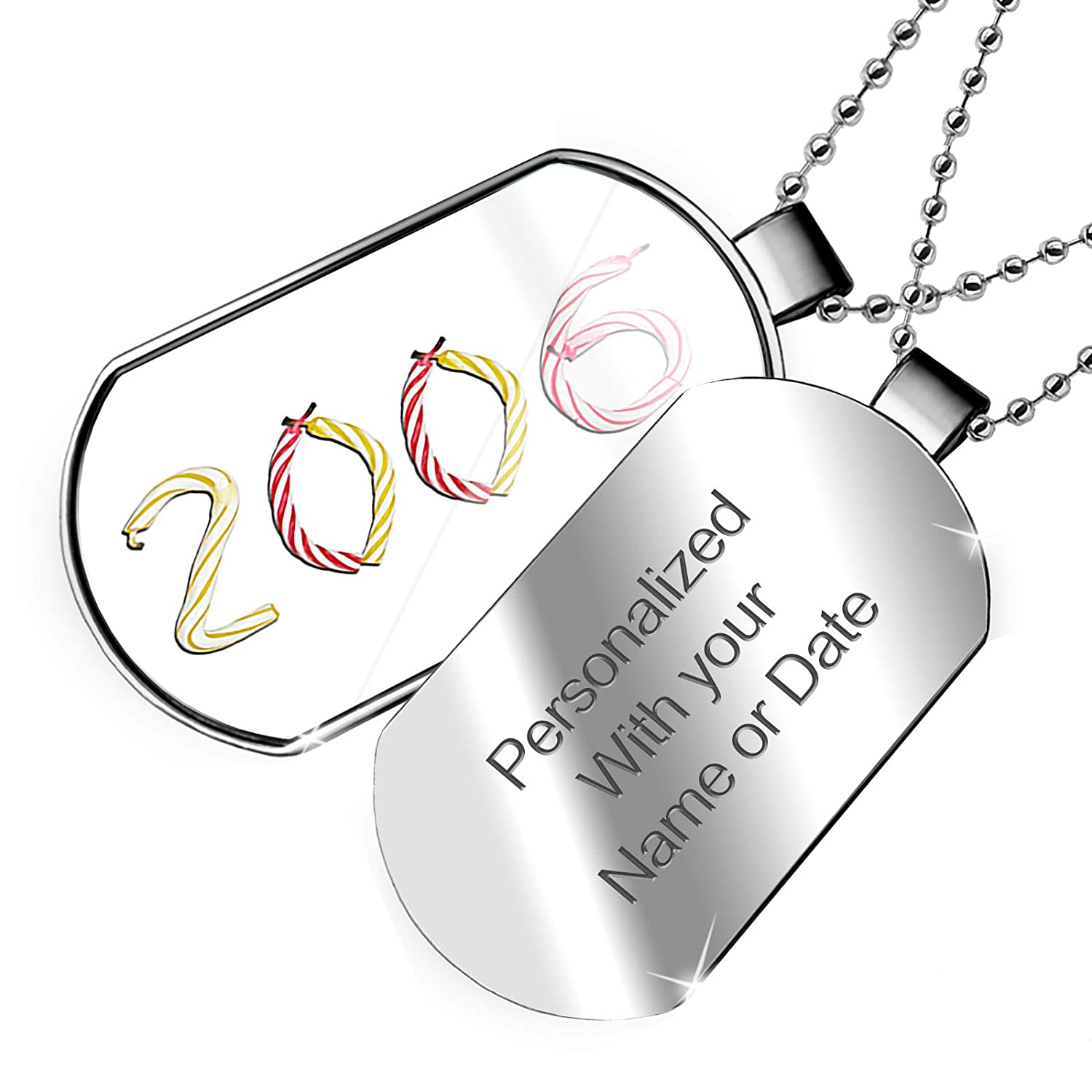 NEONBLOND Personalized Name Engraved 2006 Birthday Party Candles Dogtag Necklace