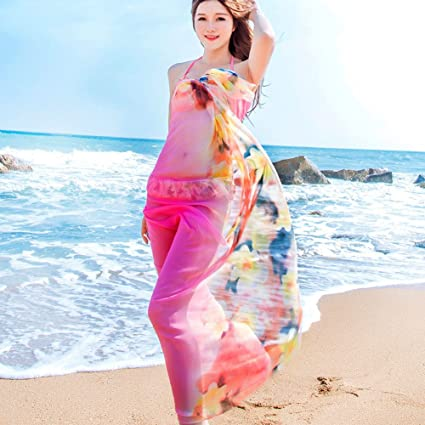 fd62a70787987 Amazon.com: Sexy Women Chiffon Beach Swimwear Printing Flower Sarong Wrap  Dress Bikini Cover Up Scarf (Pink): Home & Kitchen