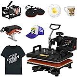 F2C Pro 5 in 1 Combo Heat Press Machine T-Shirt Hat Cap Mug Plate Digital Transfer Sublimation Machine New Black (5 in 1…