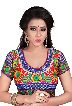0bdb7c7faeb7d6 Kuvarba Fashion Women s Banglori Silk Stiched readymade free size Saree  Blouse (2113)