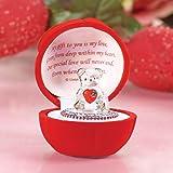 Orsetto con cuore rosso in confezione regalo a forma di rosa, ornamento in vetro