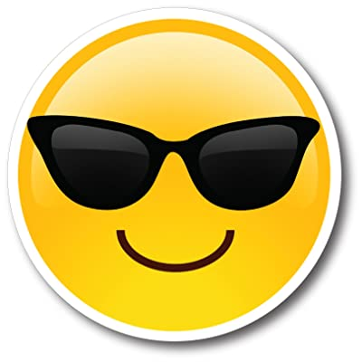 Sunglasses Cool Emoji Magnet Decal Perfect for Car or Truck: Automotive