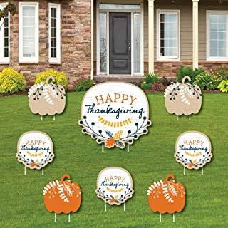 product image for Big Dot of Happiness Happy Thanksgiving - Yard Sign and Outdoor Lawn Decorations - Fall Harvest Party Yard Signs - Set of 8
