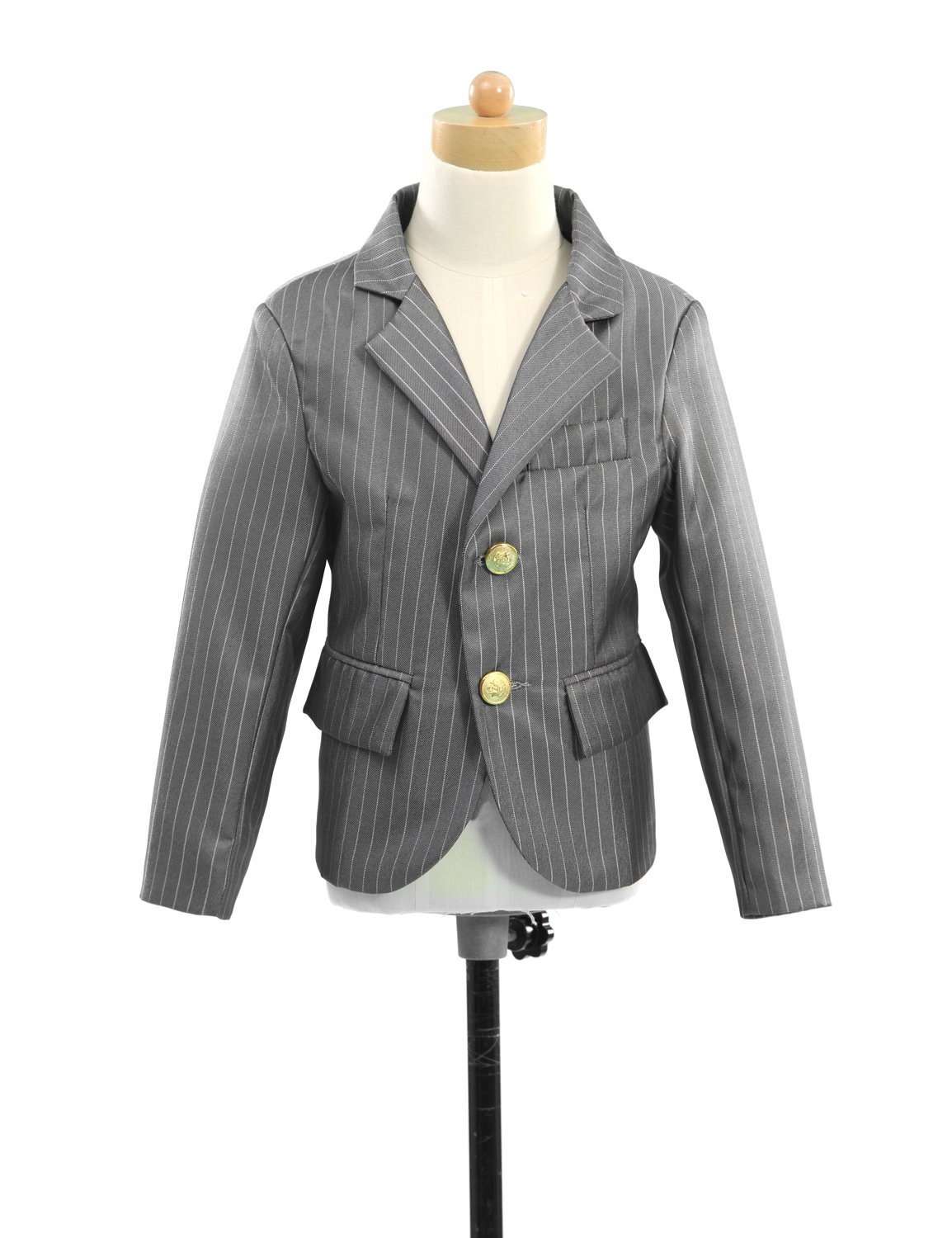 HBDesign Boys'2 piece 2 Button Thick Stripe Slim Fit Casual Suite Gray