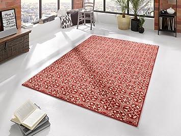 Teppich rot beige moderner teppich blumenmuster koralle