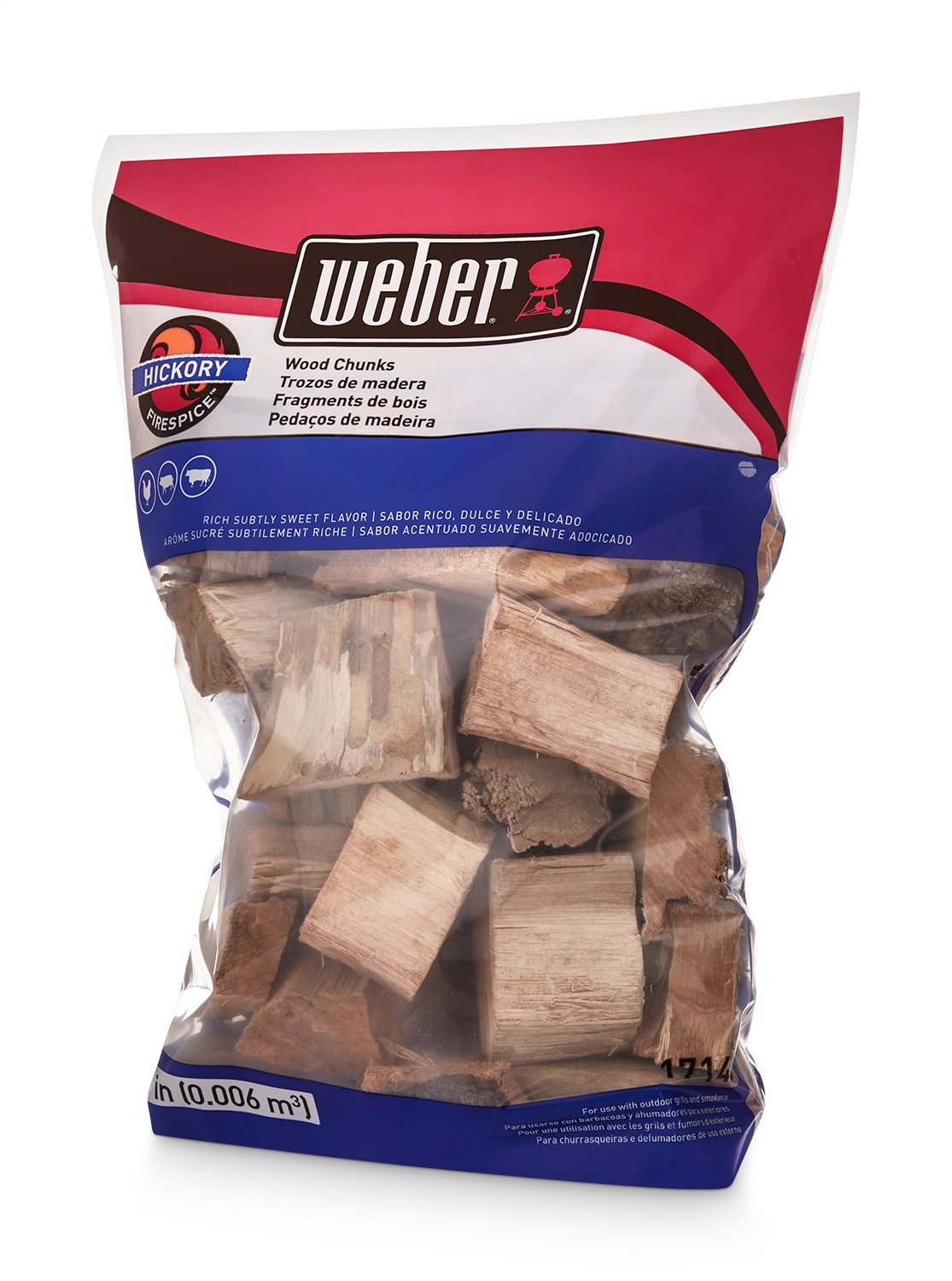 Weber 17148 Hickory Wood Chunks, 350 cu. in. (0.006 Cubic Meter)