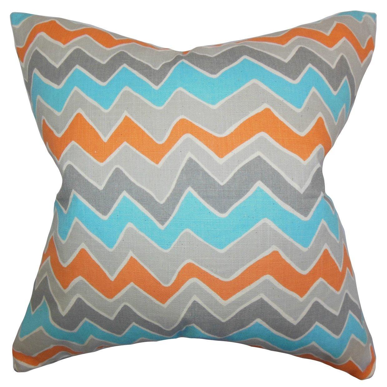 The Pillow Collection Achsah Zigzag Bedding Sham Gray Orange King//20 x 36