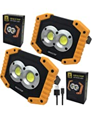 2pcs LED Work Light Rechargeable 20W COB Job Site Spotlights Built-in 6400 mAh Rechargeable Battery 3 Mode for Camping Household Workshop Automobile Emergency