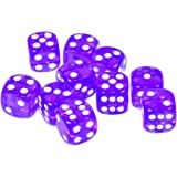Raincol Set of 10 Six Sided D6 16mm Standard Rounded Translucent Dice Die - Purple