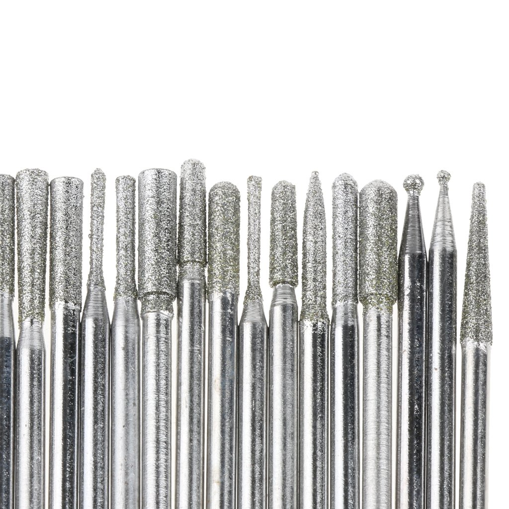Prettyia Set of 30 Pcs 2.35mm Shaft Diamond Engraving Burrs Bits to Cut Glass Metal Wood