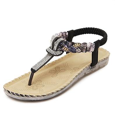 YE Damen Flach T-Spangen Riemchen Sandalen mit Glitzer Strass Sommer Schuhe