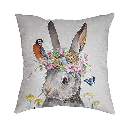 Creative Happy Easter Eggs Bunny Cushion Cover Decorative Pillows Cover For Sofa Car Seat Square 45x45cm Throw Pillow Case Home Decor Home Textile