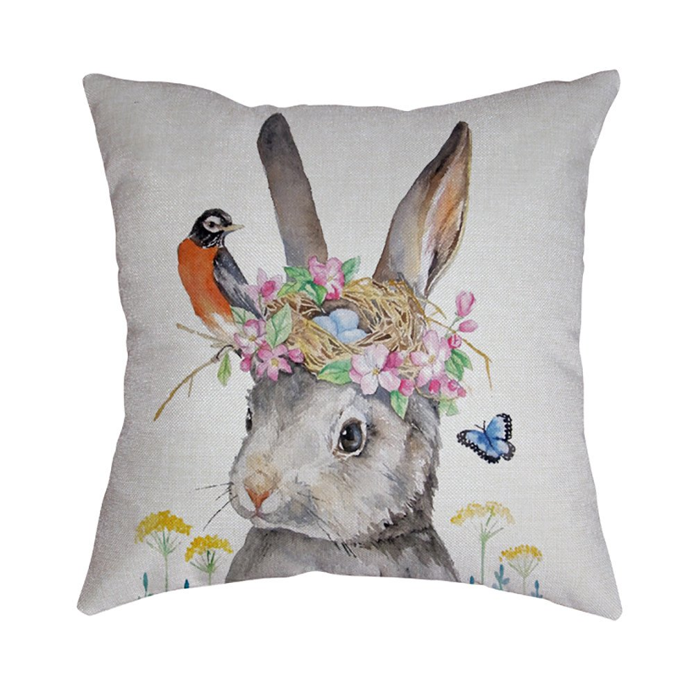 Pet1997 Happy Easter Linen Pillowcase, Festival Rabbit Pillow Case Cushion Cover, Easter Sofa Bed Home Decoration, Luxury Bedding,18 X18 Inch (F)