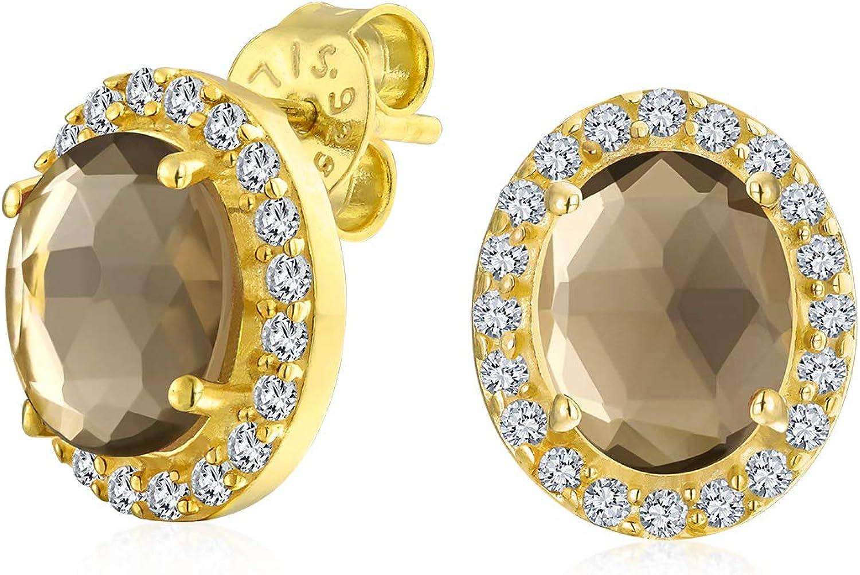 2.2Ct Pave CZ Halo Marrón De Piedras Preciosas De Cuarzo Ahumado Pendiente Boton Oval Mujer Chapado En Oro Amarillo 14K