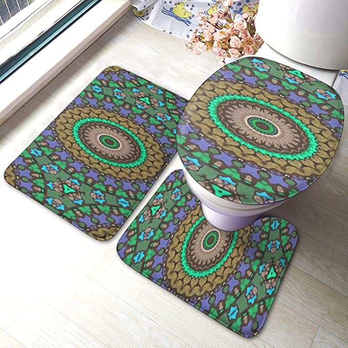 3 Pieces Bath Rug Set Kaleidoscope Bath Rugs For Bathroom Sets Contour Rug Pedestal Mat And Toilet Lid Cover Non Slip Bathroom Floor Mat Home Kitchen
