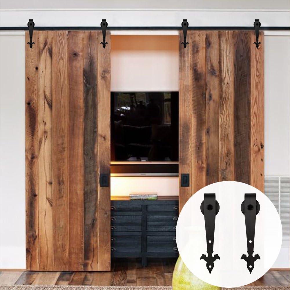 LWZH - Kit de riel para puerta corrediza de granero de 3 m para perchas de doble puerta (cada puerta mide 76,2 cm de ancho): Amazon.es: Bricolaje y herramientas