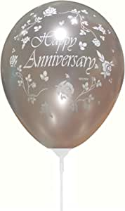 Happy Anniversary Silver Ballon - 20 pcs in a packet