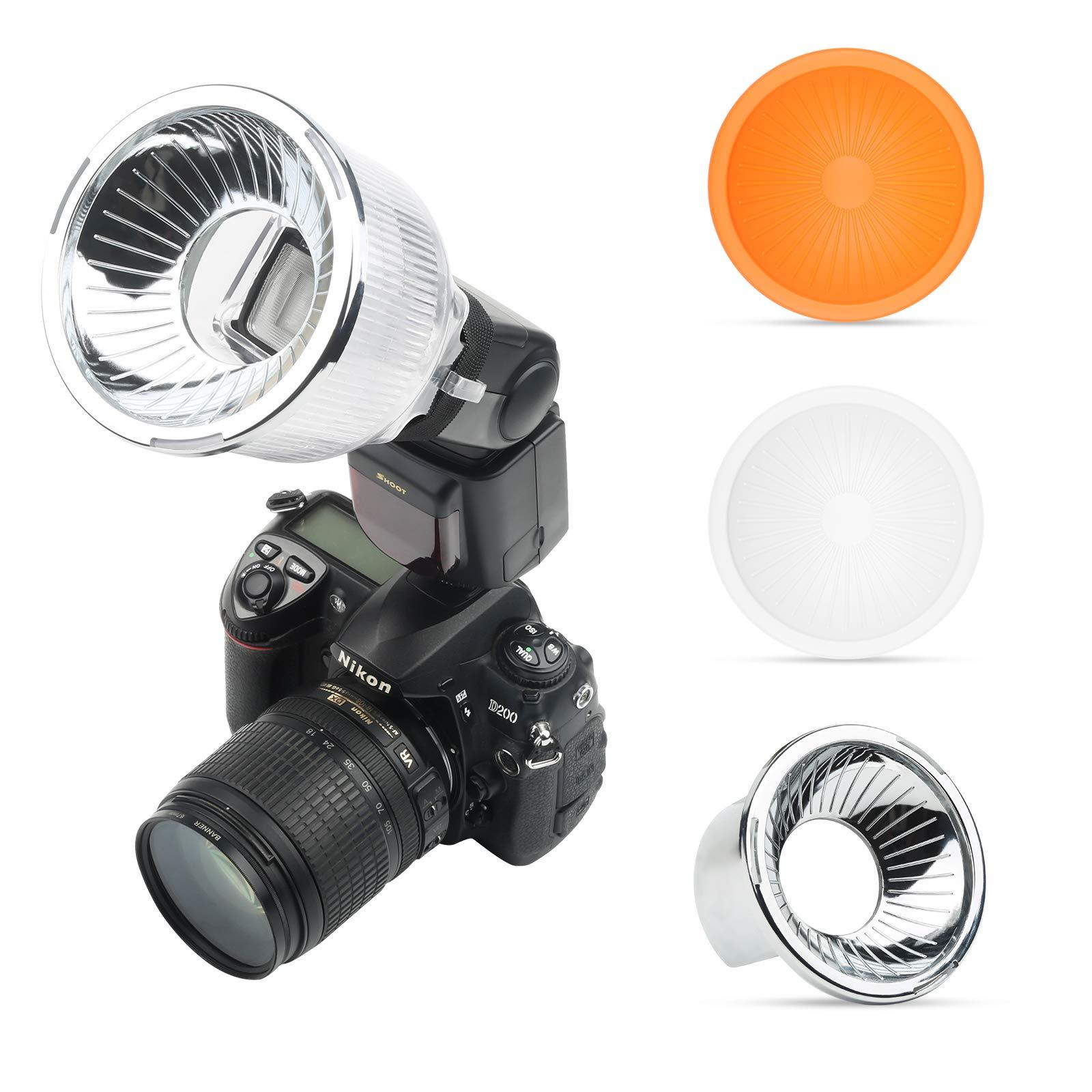 SHOOT Lambancy Dome Flash Speedlight Diffuser (Orange,Silver,White) for Canon 420EX 430EX 550EX 580EX 580EX II 600EX Nikon SB600 SB700 SB800 SB900 SB910 Sony HVL-F42AM and Other Similar Digital Camera by SHOOT